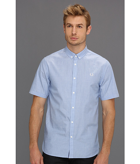 Camasi Fred Perry - S/S End On End Shirt - Turquoise