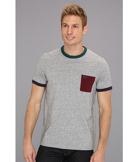 Tricouri Fred Perry - Jersey Pop Pocket T-Shirt - Vintage Steel Marl/Port/Dark Teal/Tropical Red