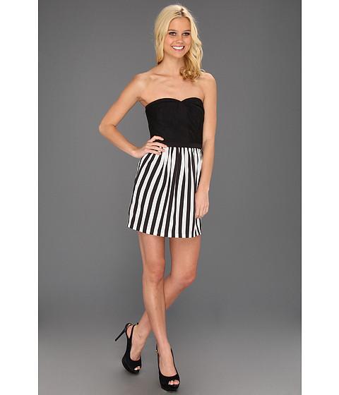 Rochii Type Z - Kiara Strapless Stripe Dress - White/Black
