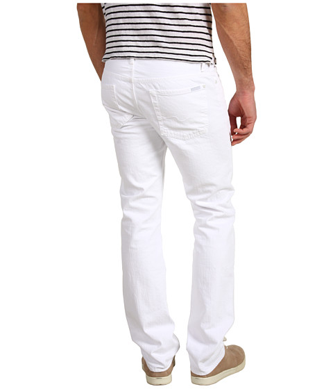 Blugi 7 For All Mankind - Slimmy Straight Leg in Clean White - Clean White