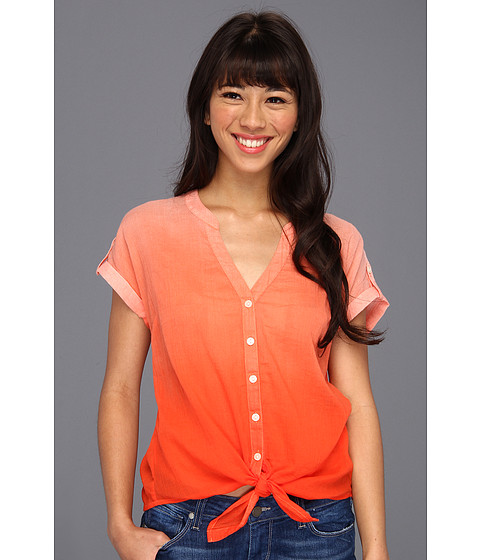 Bluze Lucky Brand - Ombre Cameron Tie-Front S/S Top - Orange Multi