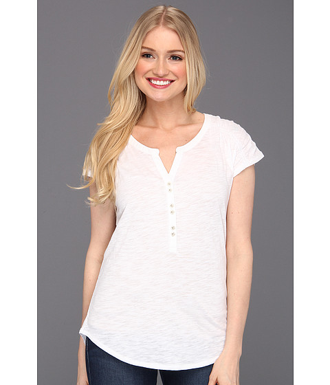 Bluze Lucky Brand - Marina Ruched Sleeve Top - Lucky White