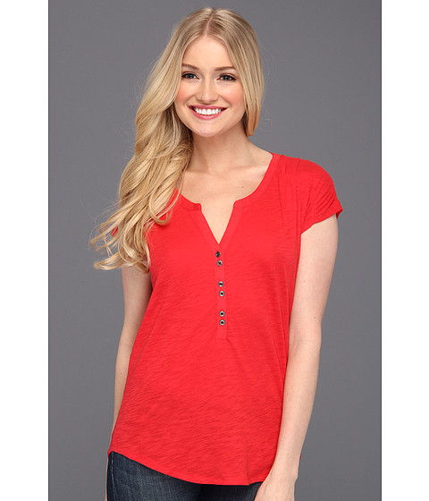 Bluze Lucky Brand - Marina Ruched Sleeve Top - Tomato Spice