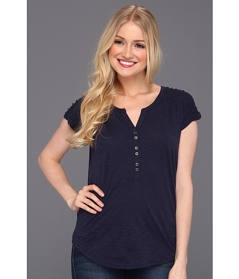 Bluze Lucky Brand - Marina Ruched Sleeve Top - American Navy