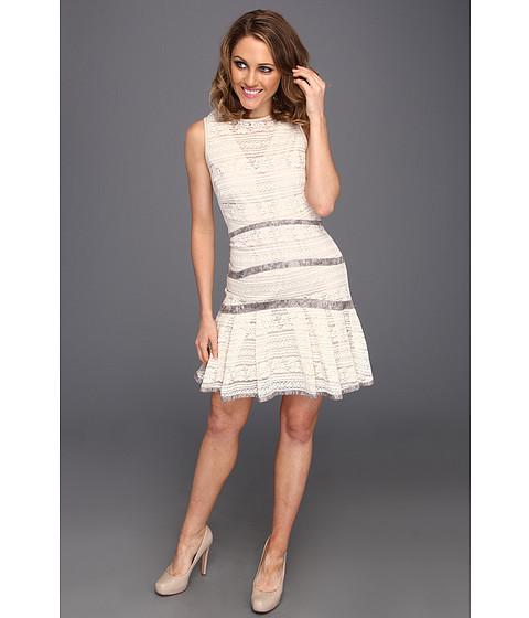 Rochii Badgley Mischka - Lace Peplum Dress - Ivory