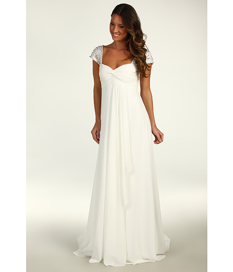 Rochii Nicole Miller - Chiffon Gown With Embellished Cap Sleeves - Antique White