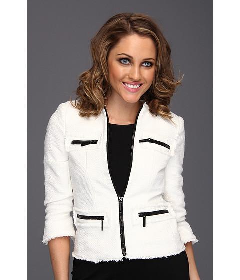 Jachete Michael Kors - Tweed Fray Zip Jacket - White