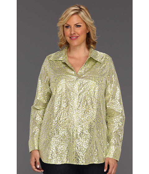 Camasi Roper - Plus Size 8694 Shiny Cheetah Print Shirt - Green