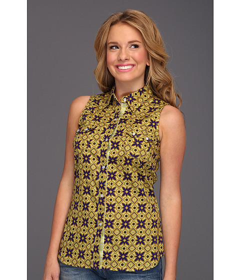 Bluze Roper - 8629 Printed Poplin Sleeveless Shirt - Green
