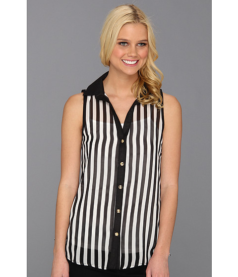 Tricouri Type Z - Klara Stripe Chiffon Tank - Black/White