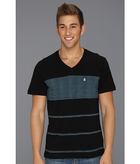 Tricouri Volcom - Black Out Stripe S/S V-Neck - Black