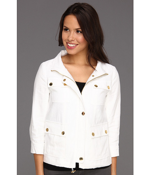 Jachete Michael Kors - Linen Wide Collar Jacket - White