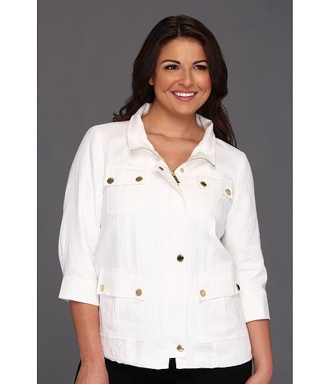Jachete Michael Kors - Plus Size Linen Wide Collar Jacket - White