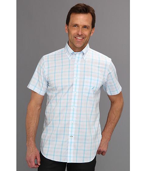 Tricouri Nautica - Slim Wrinkle Resistant Poplin Medium Plaid S/S Shirt - Blue Mist
