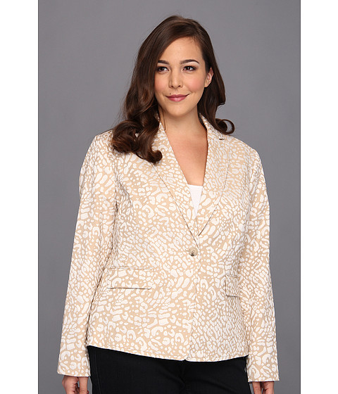 Jachete Anne Klein New York - Plus Size Leopard Jacquard Jacket - Oak/Camellia Multi
