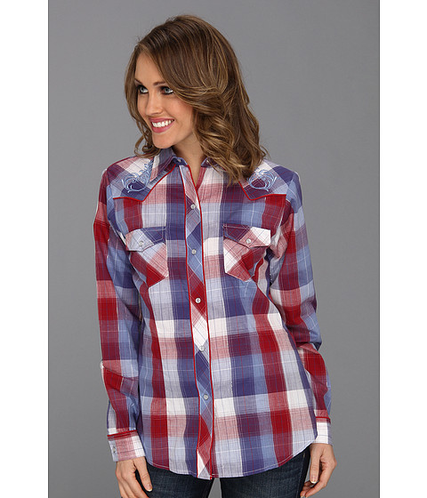 Camasi Roper - 8396 Red White And Blue Plaid - Red