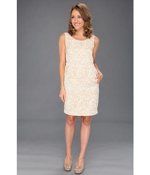 Rochii Anne Klein New York - Petite Leopard Jacquard Dress - Oak/Camellia Multi