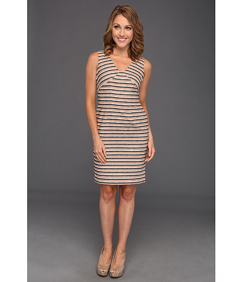 Rochii Anne Klein New York - Petite Linen Strip Sheath Dress - Dark Oak Multi