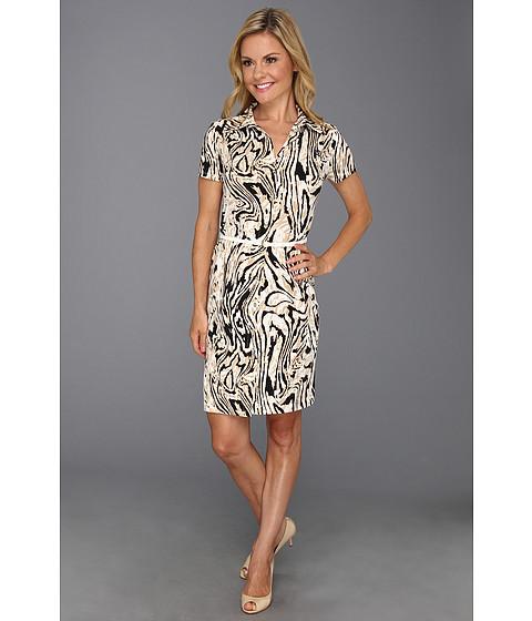 Rochii Anne Klein New York - Petite Moire Print Dress - Oak Multi