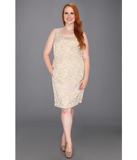 Rochii Anne Klein New York - Plus Size Leopard Jacquard Dress - Oak/Camellia Multi