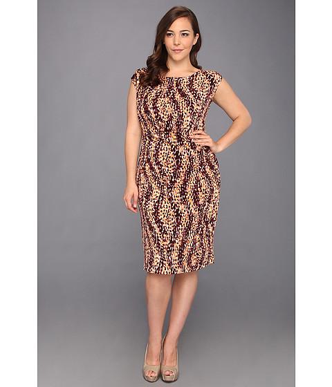 Rochii Anne Klein New York - Plus Size Scale Print Dress - Mahogany Multi