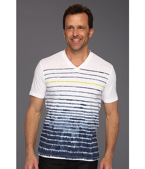 Tricouri Perry Ellis - S/S Cotton Poly Printed V-Neck - Ink