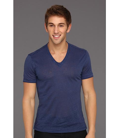 Tricouri John Varvatos - Linen S/S V-Neck With Cotton Trim - Royal Blue