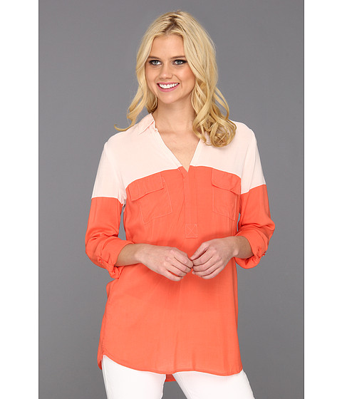 Bluze Splendid - Colorblocked Shirting Roll-Up Sleeve Shirt - Hot Coral/Blush