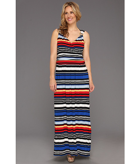 Rochii Vince Camuto - Plus Size Bright Stripe Maxi Dress - China Blue