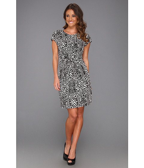 Rochii Vince Camuto - Tie Waist Zebra Dress - Rich Black