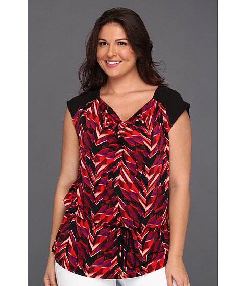 Tricouri Calvin Klein - Plus Size Layered Chevron Drawcord Cowl Neck - Tango/Black Multi