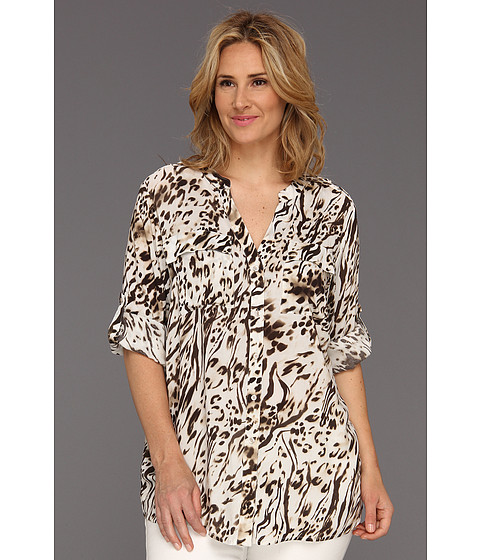 Tricouri Calvin Klein - Plus Size Spotted Zebra Print Crew Roll Sleeve - Black/Soft White Multi 2