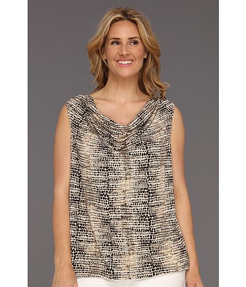 Tricouri Calvin Klein - Plus Size Washed Pebbles Print Cowl Neck Top - Black/LT Lite Multi