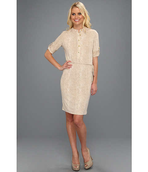 Rochii Calvin Klein - Elbow Sleeve Henley Dress - Latte/Soft White Multi