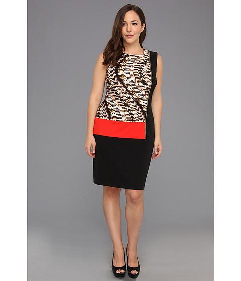 Rochii Calvin Klein - Plus Size Curved Animal Seamed Block Dress - Latte Multi 2