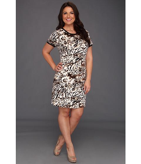 Rochii Calvin Klein - Plus Size Spotted Zebra Print T-Shirt Dress - Black/Soft White Multi 2