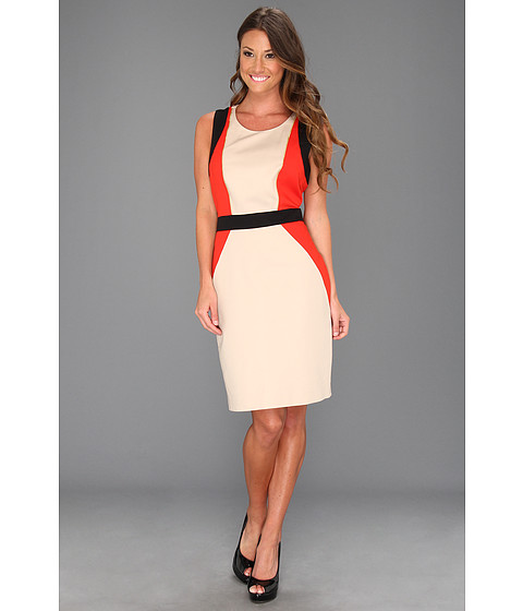 Rochii Calvin Klein - Seamed Combo Dress - Latte