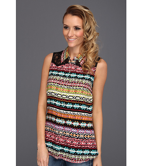 Bluze Roper - Tribal Stripe Print Sleeveless Top - Black