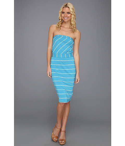 Rochii Michael Stars - Cleo Island Stripe Strapless Dress - Atlantic