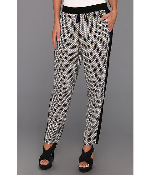 Pantaloni DKNY - Straight Ankle Pant w/ Tech Crepe Side Panels - Stone