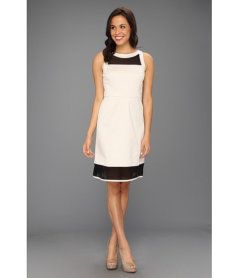 Rochii DKNY - Sleeveless Dress w/ Mesh Yoke - Stone 2