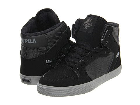Adidasi Supra - Vaider FA12 (Little Kid) - Black Suede/Black Perf Leather/Grey