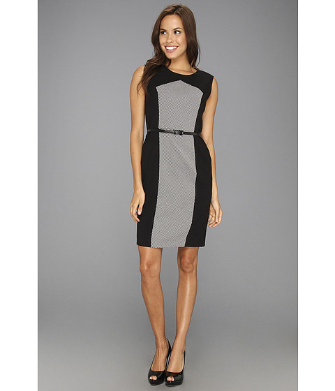 Rochii Calvin Klein - Sleeveless Belted Sheath Dress - Black/Ivory