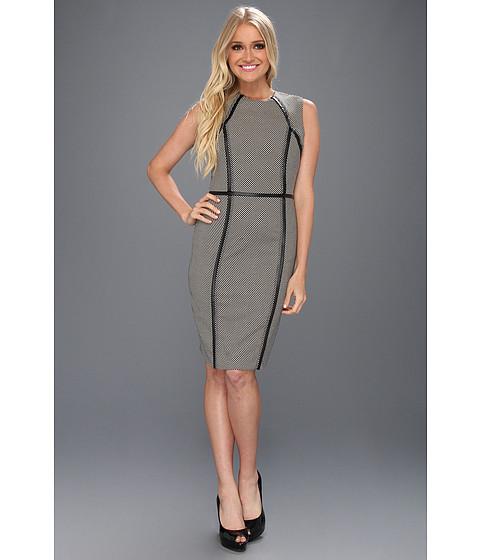 Rochii Calvin Klein - Sleeveless Career Sheath w/ Piping Dress - Black/Khaki