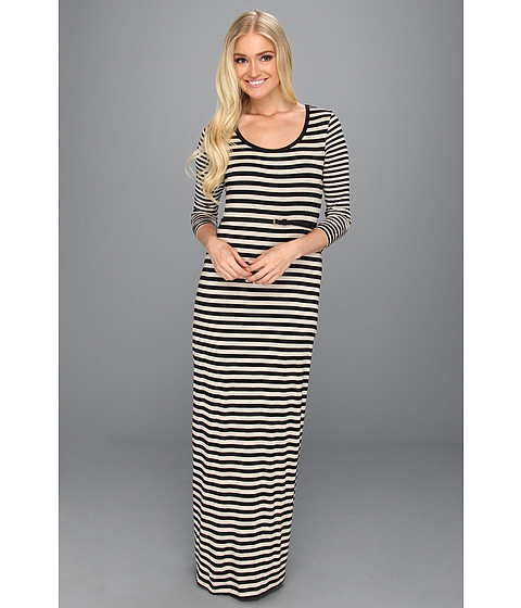 Rochii Calvin Klein - Rayon Striped L/S Scoop Neck Maxi Dress - Black/Bone Heather
