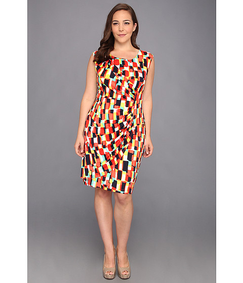 Rochii Christin Michaels - Plus Size Candence Dress - Coral/Multi