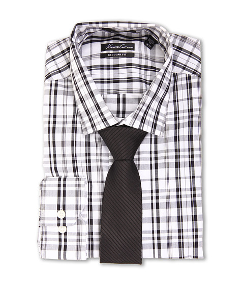Camasi Kenneth Cole - Non-Iron Regular Fit Plaid Dress Shirt - Winter White
