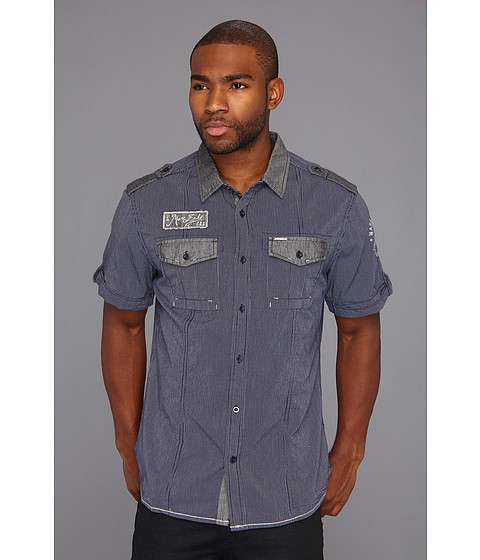 Camasi ECKO - S/S Finestripe Gas Patch Shirt - True Navy
