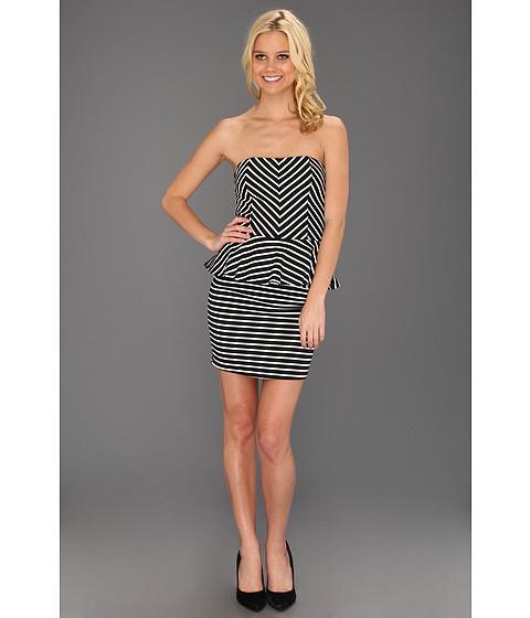 Rochii Type Z - Kitty Stripe Peplum Dress - Black/White