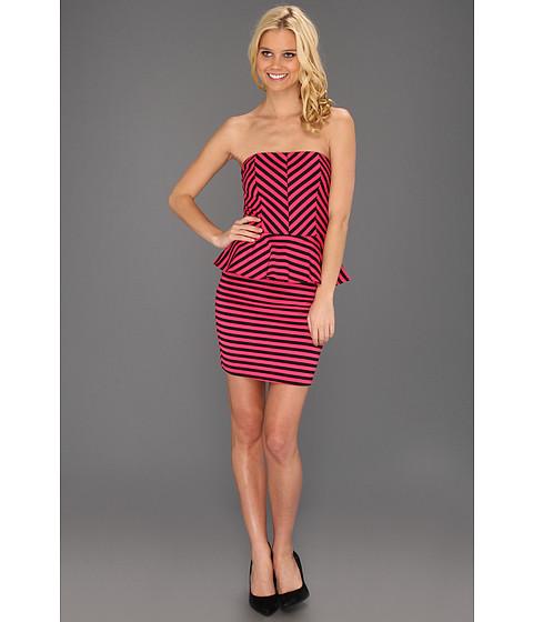 Rochii Type Z - Kitty Stripe Peplum Dress - Pink/Black